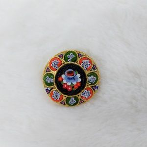 Vintage Micro Mosaic Floral Brooch Pin Italy  MM19